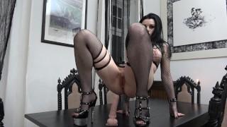 Slutty Goth rides and sucks her Dildo...