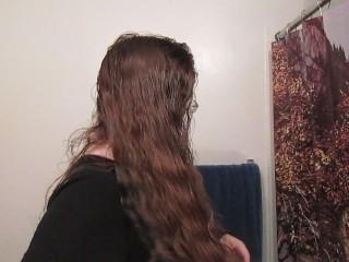 Hair Journal Combing Long Curly Strawberry Blonde Hair Week 2 ASMR
