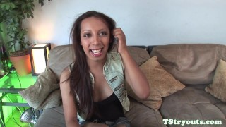Trans beauty rubbing cock on casting couch