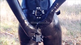 Hot girlfriend pissing in full black latex catsuit  kink rubber doll latex piss rubber fetish latex fetish latex femdom rubber piss rubber catsuit latex catsuit catsuit pissing in public