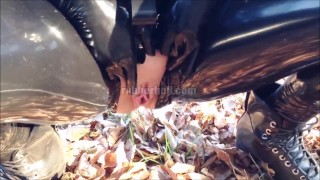 Hot girlfriend pissing in full black latex catsuit  kink rubber doll latex piss latex fetish rubber fetish rubber catsuit latex femdom rubber piss latex catsuit catsuit pissing in public