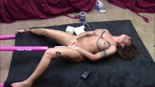 Hot brunette gets machine fucked on floor with big cock dildo tits toys milf wife big toys kink masturbate mom sex machine slut mother sex toys brunette fuck machine adult toys