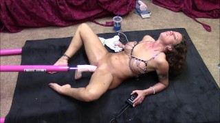 Hot brunette gets machine fucked on floor with big cock  fuck machine tits dildo wife masturbate mom toys milf kink brunette slut mother sex toys adult toys big toys sex machine