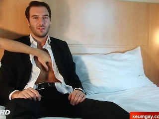 Stefan, A innocent str8 guy serviced his big cock by a guy!