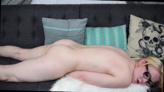 Blonde Humping a Pillow and Fingering Herself
