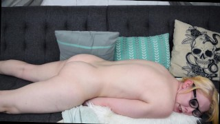 Blonde Humping a Pillow and Fingering Herself Natural tits