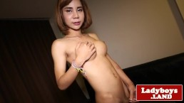 Masturbating ladyboy spreads her gaped ass