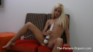 Sweet Blonde Teen Solo Masturbation to Real Orgasm with her Hitachi Natural blonde