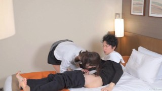 Subtitled Japanese hotel massage leads to blowjob in HD Massage caress