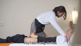 Subtitled Japanese hotel massage leads to blowjob in HD Anime kink