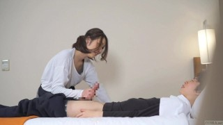 Subtitled Japanese hotel massage leads to blowjob in HD Bdsm gagging