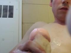 Straight bigot post orgasm torture by stranger in bathroom cums on himself