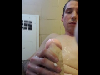 Straight bigot post orgasm in bathroom cums on himself