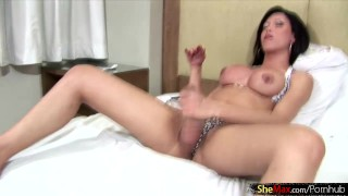 With boobed ass plays with big tranny fingers thick cock in big pump