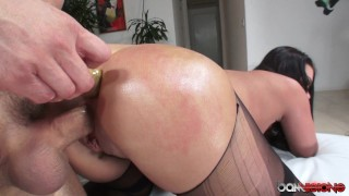 Roxy Fucked Hard in pussy with dildo in her ass