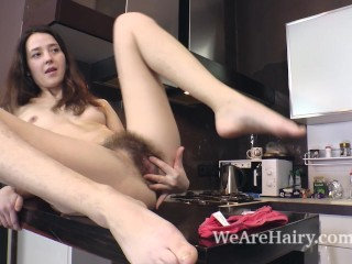 Lisa Carry strips naked and plays in her kitchen