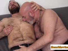 Bald mature bear analfucked after rimjob