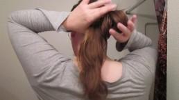 Creating a Lazy Bun with Long Curly Hair