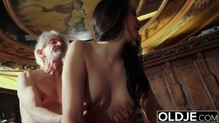Teen the by cums to man old fucked grandpa sexy tits likes on her get doggystyle young