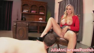 Busty Milf Julia Ann makes Foot Boy Lick Her Feet! Butt tight
