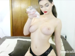 Oiling Up My Big Natural Tits and Ass During a Webcam Show