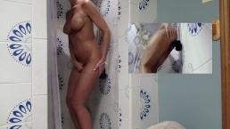 HOT WIFE HAS HOT SHOWER RIDING THICK BLACK DILDO TO ORGASM