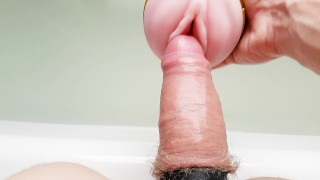 Fucking my Fleshlight and stroking my cock after a hard day at work