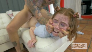 Red Head Teen Hooks Up with guy for Brutal Sex  big-cock trimmed-pussy ginger squirt pounded young hardcore natural-tits hookuphotshot rough face-fuck drilled teenager finger-bang brutal-sex