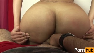 Huge booty tranny loves teasing dick Small blowjob
