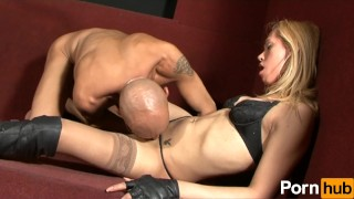 Small breasted blonde takes a nice cock in her ass Stockings tranny