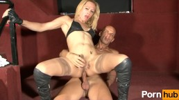 Small breasted blonde takes a nice cock in her ass