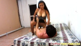 Latina nice by magnificent booty hard muscular slammed tits babe with guy cock fucking