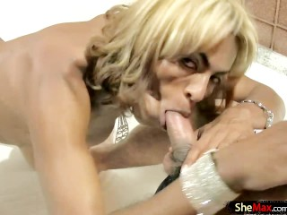 Black blonde TS enjoys ass fingering and big cock deepthroat