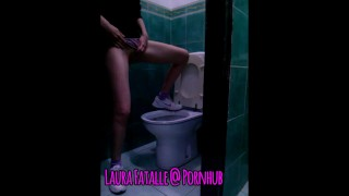 Crazy teen squirting orgasm in public toilet Laura Fatalle