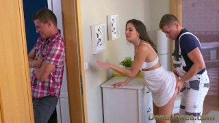 Dane Jones Cheating brunette wife is fucked and creampied by plumber  doggy style terra twain big-cock creampie shaved-pussy blowjob female-friendly female-orgasm brunette small-tits orgasm caught-cheating danejones plumber cheating wife