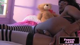 Solo masturbating ebony femboy spreads ass