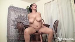 Chesty Natalia Masturbates On The Table