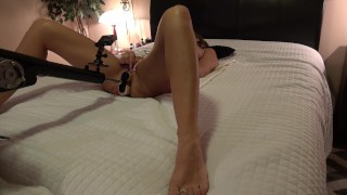 Preview 3 of HOT BRUNETTE WIFE 1st TIME DOUBLE PENETRATED BY FUCK MACHINE