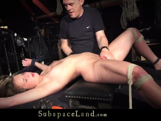 Domination slave game with young bondage slave-girl swallows cumshot