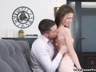Preview 5 of Casual Teen Sex - Nerdy cutie fucks with passion