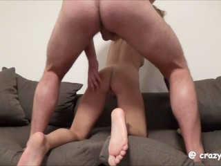 She licks my cum on floor after hard sex