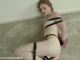 Red Head Katy Kiss Struggling in Belts Bondage Orgasm