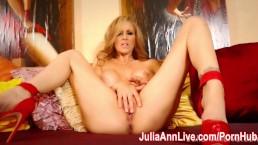 Busty Milf Julia Ann Fingers Pussy in Red Heels!