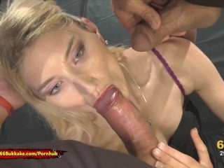 Skinny Blonde whore is thirsty for Pee – 666Bukkake