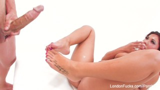London gets him off with her mouth, hands, and feet  big ass bj foot-fetish big-tits londonkeyes asian blowjob pornstar puba fetish blow-job hardcore kink brunette footjob feet