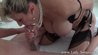 Big boobed milf Lady Sonia giving handjob and blowjob to a stranger Stockings rubbing