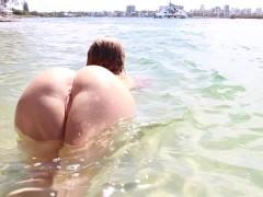 SECRETCRUSH - Big Booty Oiled Swimsuit Teen Risky Public Stripping On Beach