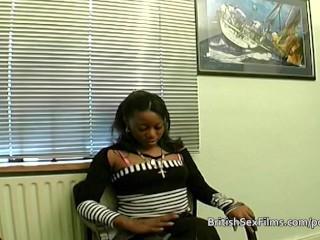 Ebony amateur filmed at real porn casting audition
