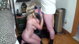 Blindfolded MILF Gives An Anonymous Gut A Birthday Blow-Job