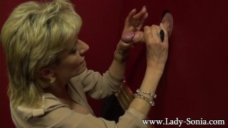 Busty milf Lady Sonia milking a huge dick on the gloryhole mother ladysonia huge-tits big-boobs big-tits handjob fake-tits british mom blonde gloryhole